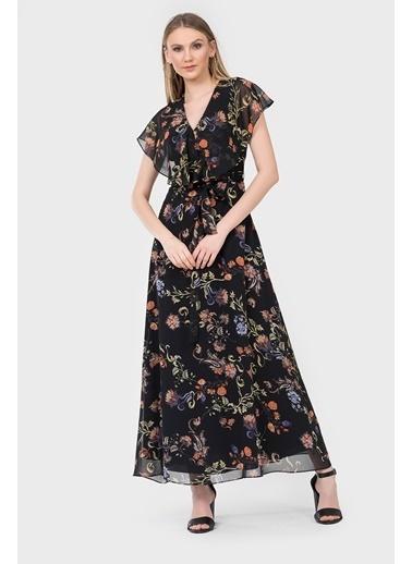 İroni Çiçekli Uzun Şifon Elbise Siyah